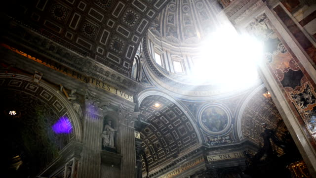 Film montage of people at StPeter's Square basilca's facade and interior with sun flare