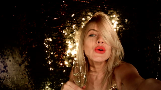 Film Montage Sensual Blonde Girl Taking Selfie At Nightclub