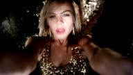 Film Montage Vegas Nightclub. Sensual Blond Girl Dancing