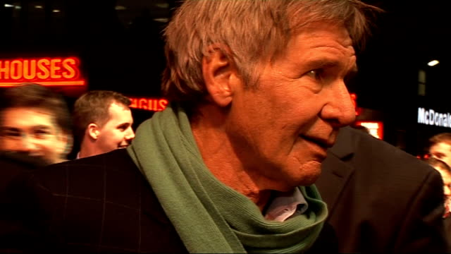 'Morning Glory' premiere celebrity arrivals Ford speaking to press / Harrison Ford interview SOT On going to anchorman school for half a day On what...