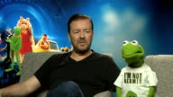 'Muppets Most Wanted Ricky Gervais and Constantine interview ENGLAND London INT Ricky Gervais and Constantine interview SOT