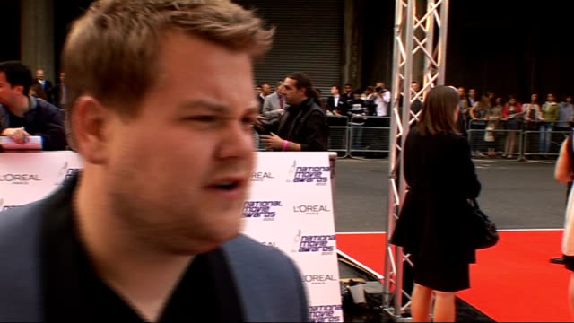 National Movie Awards 2010 red carpet arrivals James Corden talking to press and interview SOT On award shows/ On his dream film role to play Ronnie...