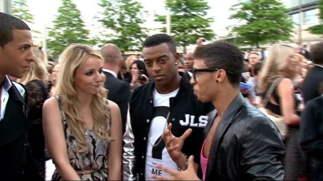 National Movie Awards 2011 red carpet arrivals JLS interview with reporter in shot SOT On their film JLS in 3D On shocking side on JLS story fly on...