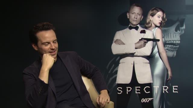 New James Bond film 'Spectre' interviews Andrew Scott interview SOT / Dave Bautista interview SOT /