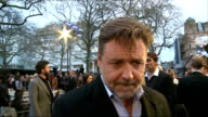 'Noah' film London premiere Arrivals and interviews Russell Crowe interview SOT on being a physically demanding role jokes that its almost as...