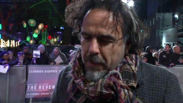 Oscar nominations announced Alejandro Gonzalez Inarritu red carpet interview at 'The Revenant' London premiere SOT