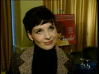 Oscar nominations Juliette Binoche interview ENGLAND London INT Juliette Binoche setup shot speaking to press / interview SOT On how happy she is as...