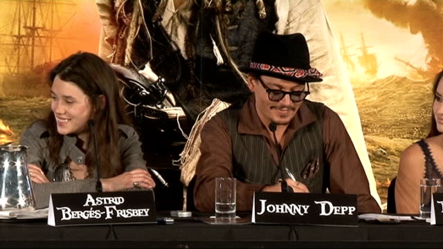 'Pirates of the Caribbean On Stranger Tides' press conference Geoffrey Rush press conference SOT On doing night shoots Johnny Depp press conference...