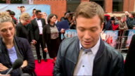 'Plastic' premiere Arrivals and interviews Ed Speelers interview SOT on being in a British movie / on going to Miami jokes horrible place to go /...