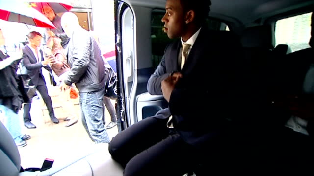 'JLS' Film premiere ENGLAND London into limousine as fans wait outside Reporter to camera in limousine with JLS Boyband JLS band interview in back of...