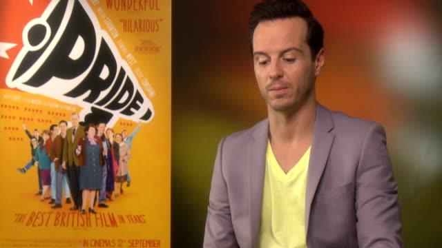 'Pride' junket interviews ENGLAND London INT Andrew Scott interview SOT