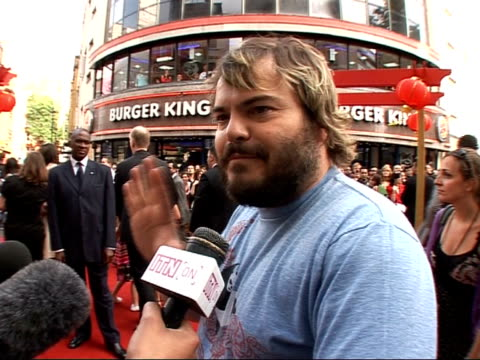Red carpet interviews at Kung Fu Panda premiere Jack Black interview SOT On using Kung Fu moves / If I see violence on some unsuspecting victim my...