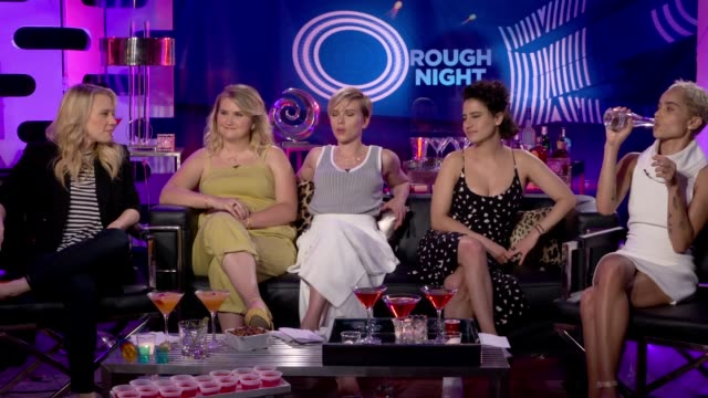 'Rough Night' cast interview ENGLAND London INT Scarlett Johansson Jillian Bell Ilana Glazer Kate McKinnon and Zoe Kravitz interview SOT re hen do's...