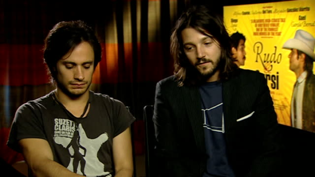 Film 'Rudo y Cursi' Gael Garcia Bernal and Diego Luna interview / Alfonso Cuaron and Carlos Cuaron interview ENGLAND London INT Gael Garcia Bernal...