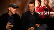 Rush junket interviews Ron Howard and Peter Morgan interview SOT Niki Lauda interview SOT
