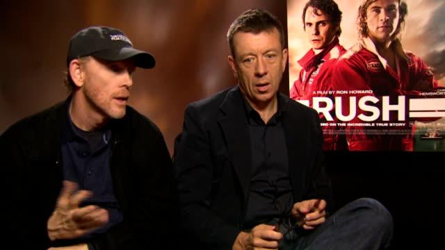 Rush junket interviews Ron Howard and Peter Morgan interview SOT Niki Lauda interview SOT