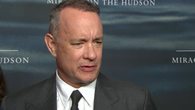 'Sully' premiere Tom Hanks and Aaron Eckhart interview ENGLAND London Waterloo IMAX INT Tom Hanks and Aaron Eckhart interview SOT re new film 'Sully'