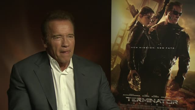 'Terminator Genisys' Junket interviews ENGLAND London INT Arnold Schwarzenegger interview SOT