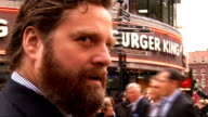 'The Hangover' UK premiere red carpet arrivals Zach Galifianakis talking to press on red carpet and interview SOT