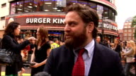 'The Hangover' UK premiere red carpet arrivals Zach Galifianakis interview continued SOT/ Ed Helms on red carpet and signing autographs