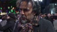 'The Revenant' premiere Red carpet interviews ENGLAND London Leicester Square Alejandro Gonzalez Inarritu interview SOT / Leonardo DiCaprio interview...