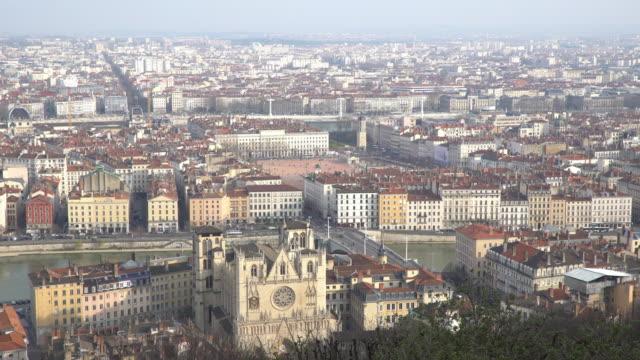 Film Tilt Aerial Lyon Cityscape Rhone River Notre Dame Fourviere