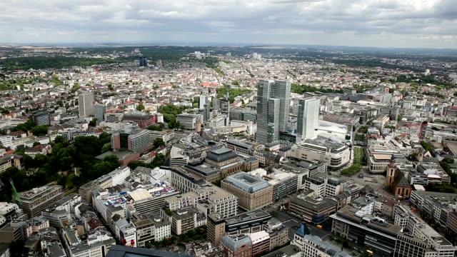 Film Tilt: Aerial view of Frankfurt Cityscape