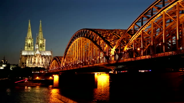 Film Tilt: Cologne Cathedral and Hohenzollern Bridge at dusk Germany