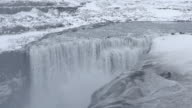 Film Tilt: Iceland Dettifoss Waterfall in winter with snow