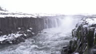 Film Tilt: Iceland Selfoss Waterfall in winter with snow