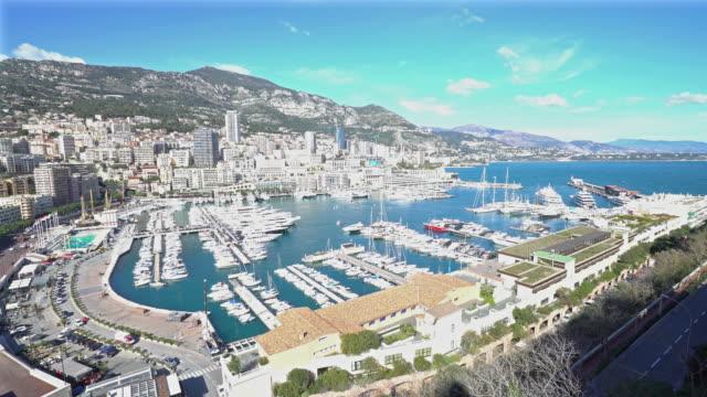 Film Tilt shot Aerial Monaco Monte Carlo harbour french riviera