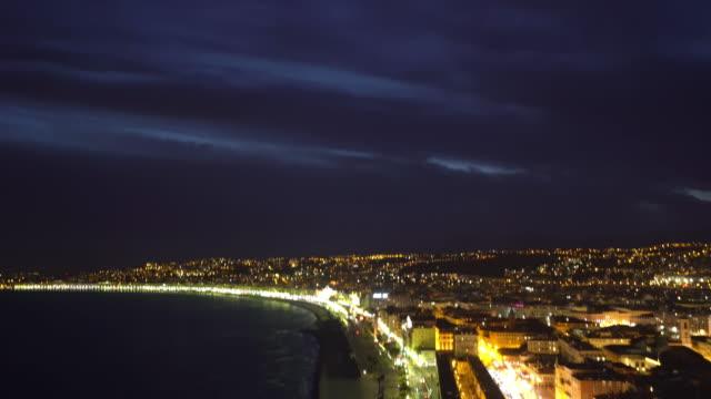 Film Tilt skott av Nice Beach hamn franska Rivieran Frankrike