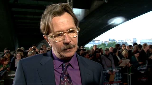 'Tinker Tailor Soldier Spy' premiere celebrity interviews Gary Oldman interview SOT On the film and the TV series and book / on filming 'Batman' good...