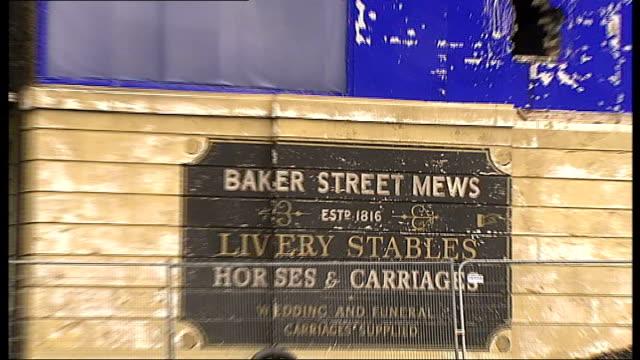 Warner Bros GVs Leavesden studio EXT GVs Exterior of set 'Baker Street Mews' / sign / GVs of Baker Street set for Sherlock Holmes / exterior of...