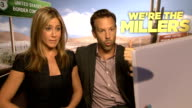 'We're The Millers' Junket interviews ENGLAND London INT Jennifer Aniston and Jason Sudeikis interview SOT / Will Poulter interview SOT / Rawson...