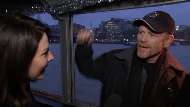 Interviews with cast and director of 'In the Heart of the Sea' Ron Howard interview SOT filming outside at night in the dark with giant dump tanks /...