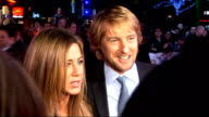 Jennifer Aniston Owen Wilson arrivie for London premiere of 'Marley and Me' red carpet interviews Jennifer Aniston and Owen Wilson speaking to group...