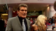 Larry Crowne London premiere / red carpet arrivals GVs David Hasselhoff and girlfriend Hayley Roberts signing autographs David Hasselhoff interview...