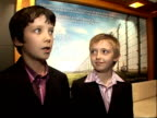 'The boy in the striped pyjamas' Interviews at premiere Asa Butterfield and Jack Scanlon interview SOT Nervous / would like to be famous / working...