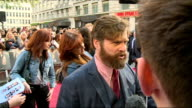 The Hangover Part III red carpet Various of Zach Galifianakis on red carpet and interview SOT