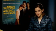 'The Perks of Being a Wallflower' Emma Watson interview ENGLAND London INT Emma Watson interview SOT On the film's range parents going with teenagers...