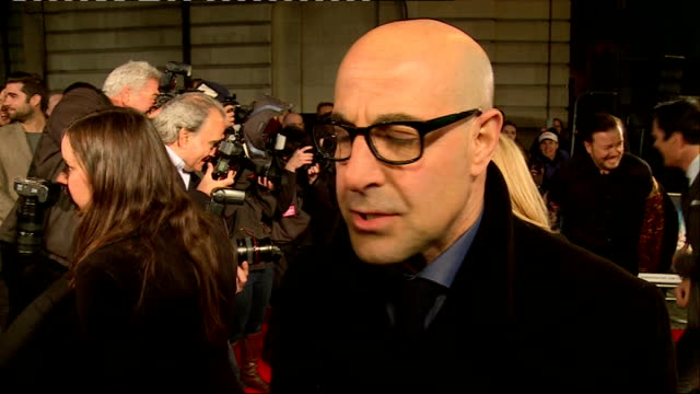 UK premiere of 'Muppets Most Wanted' Red Carpet interviews **Music heard SOT** Gervais and Tucci chatting to press James Buckley interview SOT Ricky...