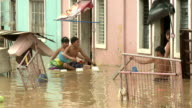 Filthy Flood Waters In Residential Area of Manila