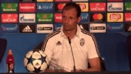 Final part of a Juventus press conference at the National Stadium of Wales with manager Massimiliano Allegri ahead of their Champions League final...