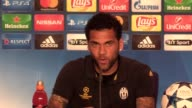 Final part of a Juventus press conference at the National Stadium of Wales with manager Massimiliano Allegri and players Dani Alves and Gianluigi...