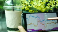 Financial analysts see charts and graphs on smart phone