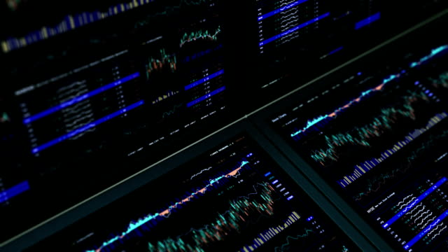 Financial data and charts. Blue.