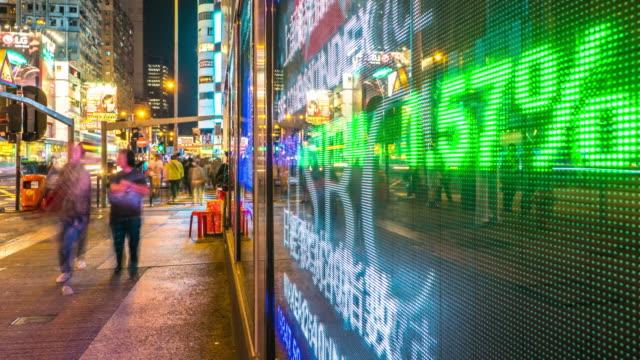 financiële gegevens weergeven op scherm en drukke mensen. timelapse 4k