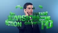 3D financial keywords spinning around a businessman