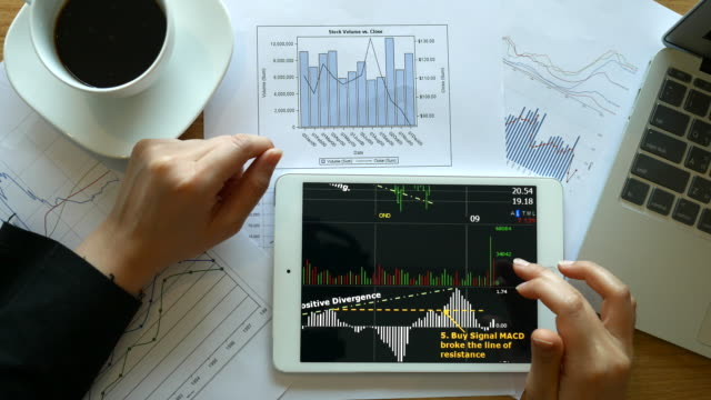 Financial looking her business project and analyzing market data, 4k(UHD)